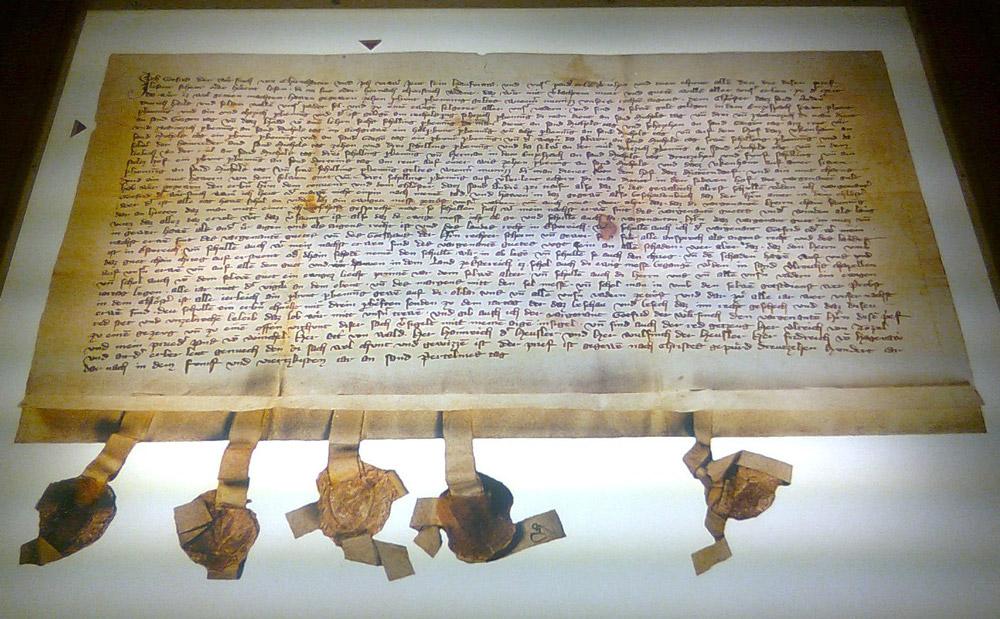Urkunde mit der Erstnennung von Eichgraben