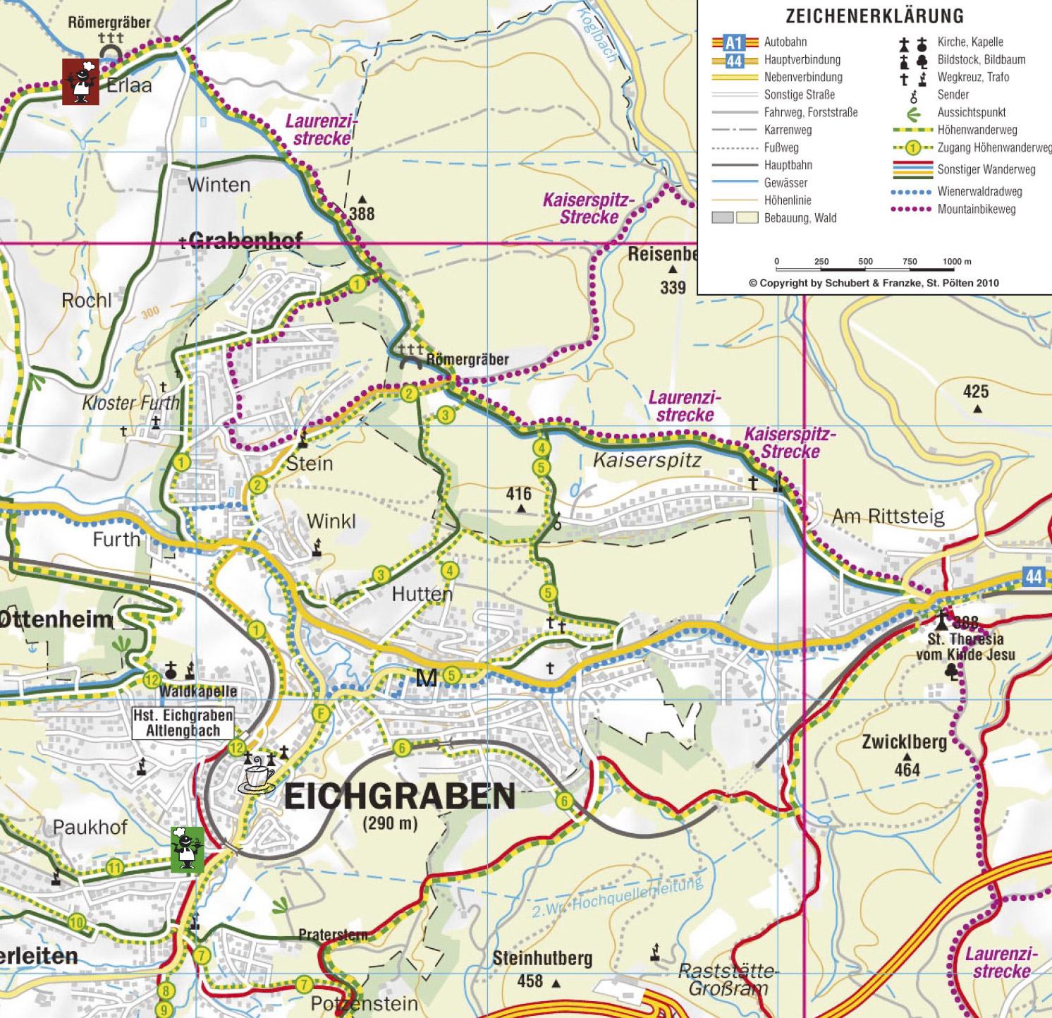 Eichgrabner Höhenwanderweg Karte